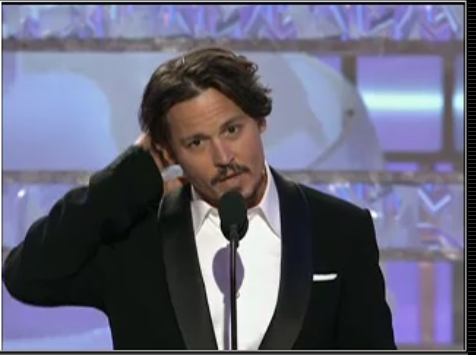 Johnny presenting at Golden Globes